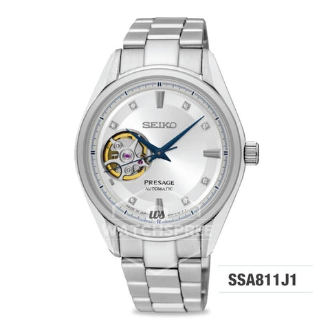 Seiko Presage (Japan Made) Swarovski Crystal Open Heart Automatic Silver Stainless Steel Band Watch SSA811J1