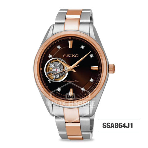 Seiko Presage (Japan Made) Swarovski Crystal Open Heart Automatic Two-tone Stainless Steel Band Watch SSA864J1