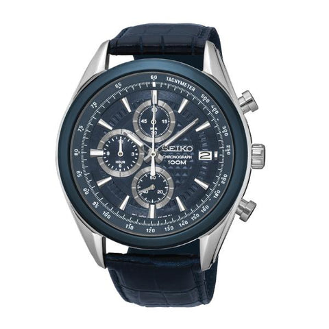 Seiko Chronograph Blue Calf Leather Strap Watch SSB177P2