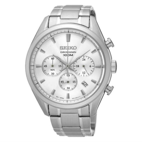Seiko Men's Chronograph Silver Stainless Steel Band Watch SSB221P1