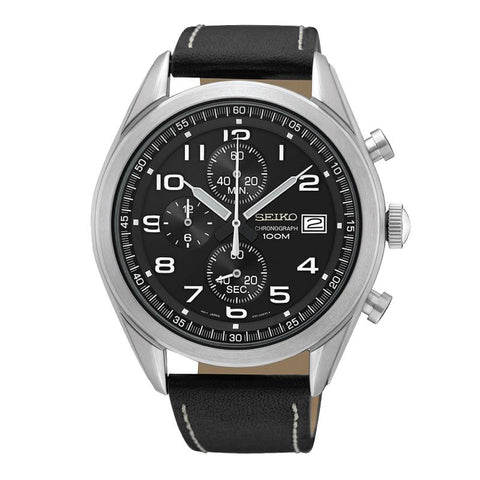 Seiko Chronograph Black Calf Leather Strap Watch SSB271P1