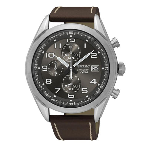 Seiko Chronograph Brown Calf Leather Strap Watch SSB275P1