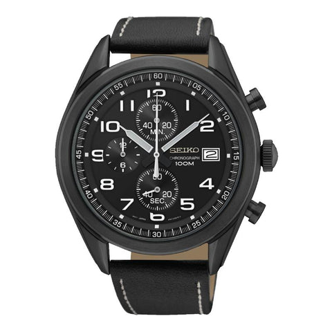 Seiko Chronograph Black Calf Leather Strap Watch SSB277P1
