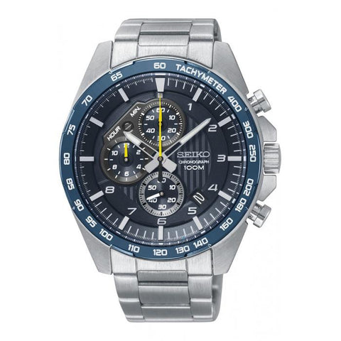 Seiko Men's Chronograph Silver Stainless Steel Band Watch SSB321P1