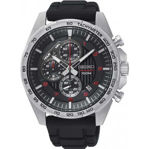 Seiko Men's Chronograph Black Leather Strap Watch SSB325P1