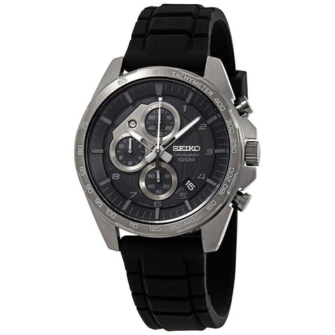 Seiko Men's Chronograph Black Silicone Strap Watch SSB327P1