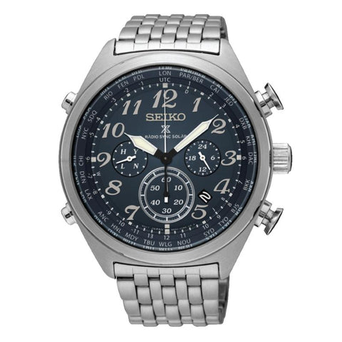 Seiko Prospex Radio Sync Solar Chronograph Silver Stainless Steel Band Watch SSG011P1