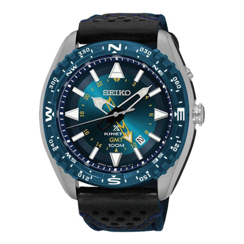 Seiko Prospex Land Series Kinetic Diver Blue Canvas and Black Calfskin Strap Watch SUN059P1