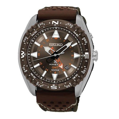 Seiko Prospex Land Series Kinetic Diver Olive Canvas and Brown Calfskin Strap Watch SUN061P1