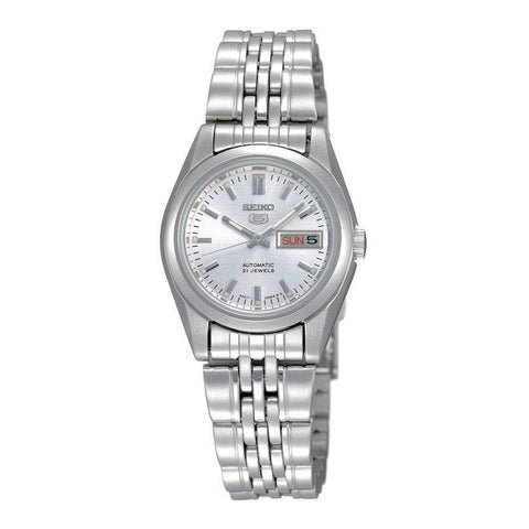 Seiko 5 Women's Automatic Silver Stainless Steel Band Watch SYMA27K1