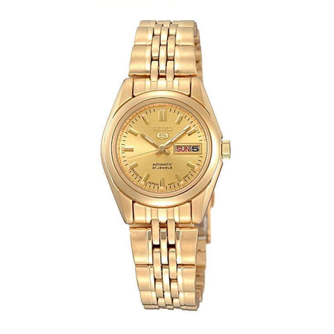 Seiko 5 Women's Automatic Gold Tone Stainless Steel Band Watch SYMA38K1