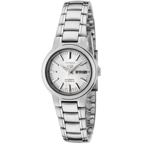 Seiko 5 Women's Automatic Silver Stainless Steel Band Watch SYMK13K1