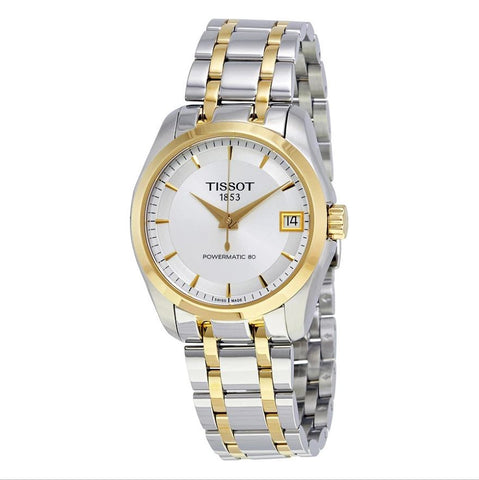 Tissot Couturier Powermatic 80 Silver Dial Two Tone 32 mm Ladies Watch T035.207.22.031.00