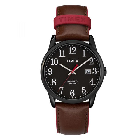 Timex Men's Easy Reader Color Pop 38mm Leather Strap Watch TW2R62300 | Watchspree