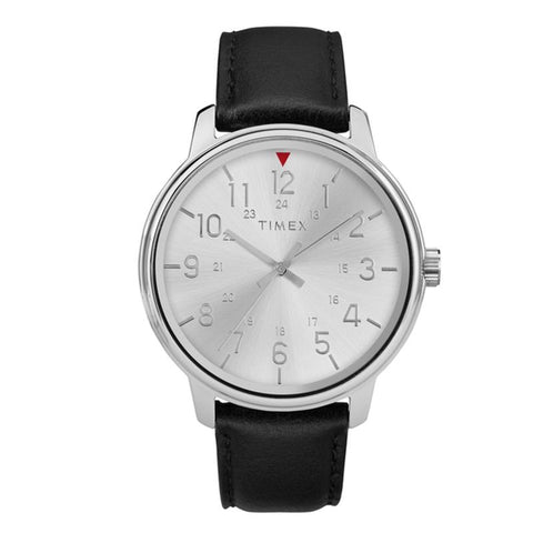 Timex Men's Basic 43mm Black Leather Strap Watch TW2R85300 | Watchspree