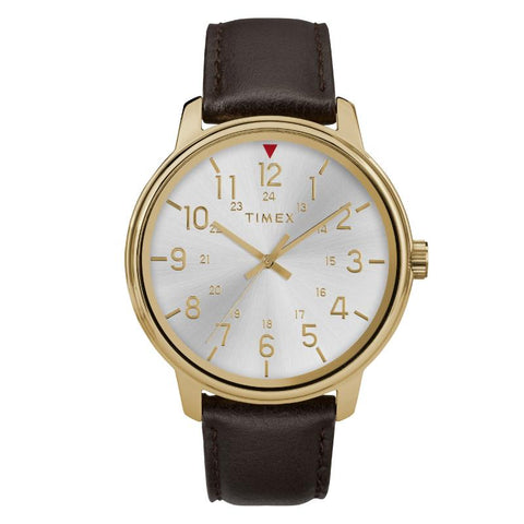 Timex Men's Basics 43mm Black Leather Strap Watch TW2R85600 | Watchspree