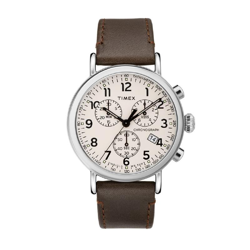 Timex Men's Standard Chronograph 41mm Leather Strap Watch TW2T21000