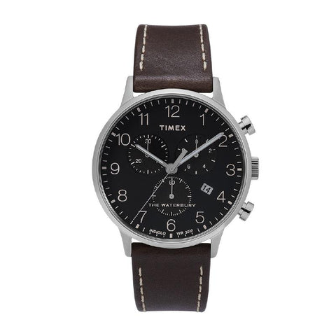 Timex Men's Waterbury Classic Chronograph 40mm Leather Strap Watch TW2T28200