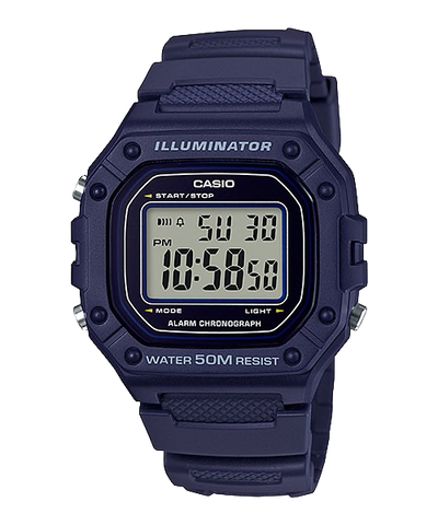 Casio Standard Digital Navy Blue Resin Band Watch W218H-2A W-218H-2A