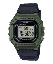 Load image into Gallery viewer, Casio Standard Digital Black Resin Band Watch W218H-3A W-218H-3A