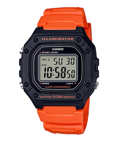 Casio Standard Digital Orange Resin Band Watch W218H-4B2 W-218H-4B2