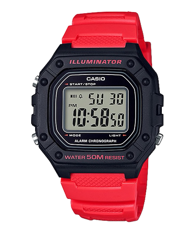 Casio Standard Digital Red Resin Band Watch W218H-4B W-218H-4B