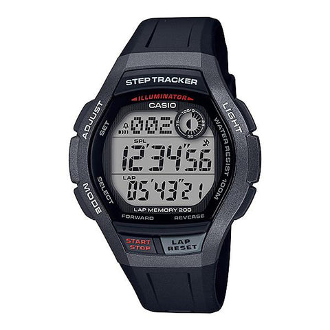Casio Men's Sports Step Tracker Black Resin Band Watch WS2000H-1A WS-2000H-1A