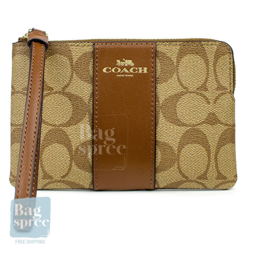 Coach Corner Zip Wristlet Brown F58035 IME74