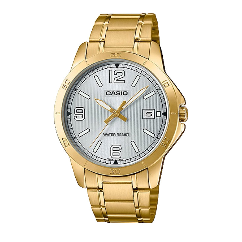 Casio Men's Standard Analog Gold Ion Plated Stainless Steel Band Watch MTPV004G-7B2 MTP-V004G-7B2