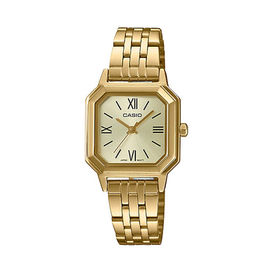 Casio Ladies' Analog Gold Ion Plated Stainless Steel Band Watch LTPE169G-9B LTP-E169G-9B