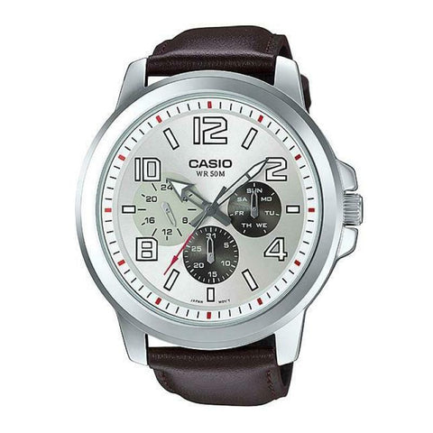 Casio Standard Analog Brown Leather Strap Watch MTPX300L-7E MTP-X300L-7E