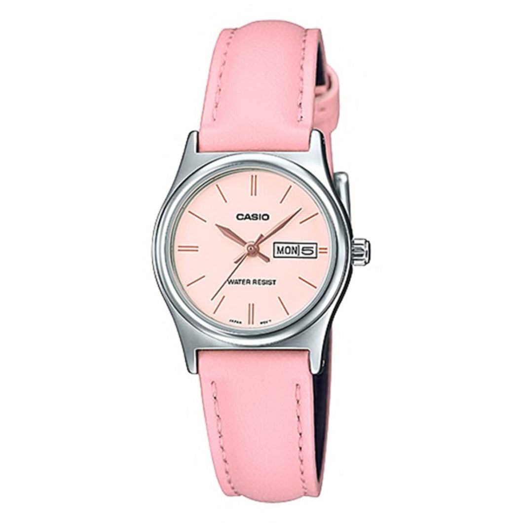 Casio Ladies' Standard Analog Pink Leather Strap Watch LTPV006L-4B LTP-V006L-4B