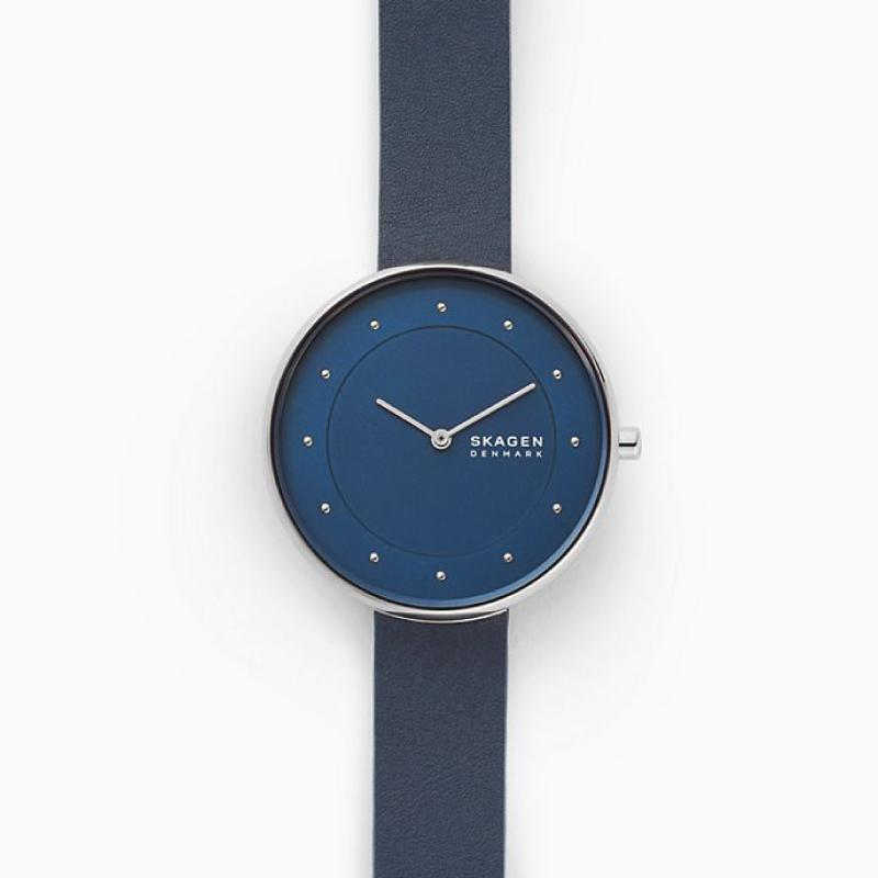 Skagen Ladies' Gitte Blue Leather Watch SKW2812