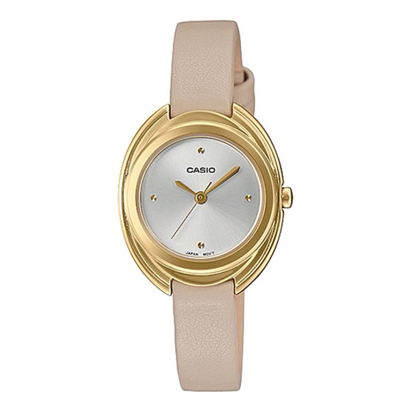 Casio Ladies' Analog Cream Leather Strap Watch LTPE166GL-7C LTP-E166GL-7C