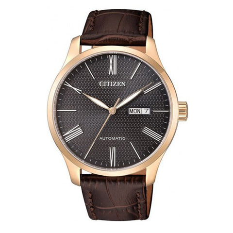 Citizen Mechanical Automatic Brown Leather Strap Watch NH8353-00H