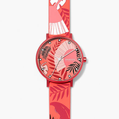 Skagen Ladies' Aaren Three-Hand Floral Print Coral Silicone 36mm Watch SKW2859