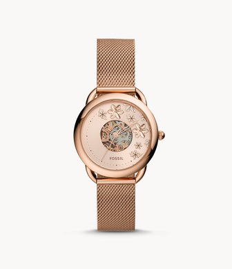 Fossil Ladies' Tailor Automatic Rose Gold Tone Stainless Steel Mesh Band Watch ME3187