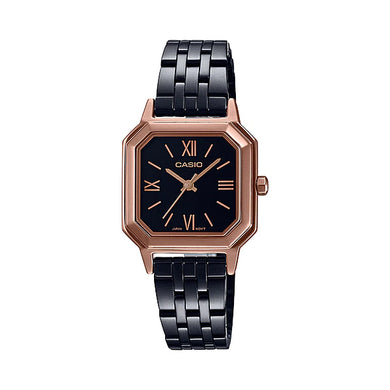 Casio Ladies' Analog Black Ion Plated Stainless Steel Band Watch LTPE169RB-1B LTP-E169RB-1B