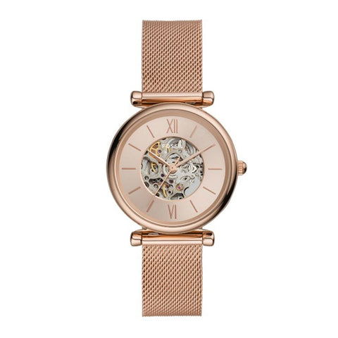 Fossil Ladies' Carlie Automatic Rose Gold-Tone Stainless Steel Mesh Watch ME3175