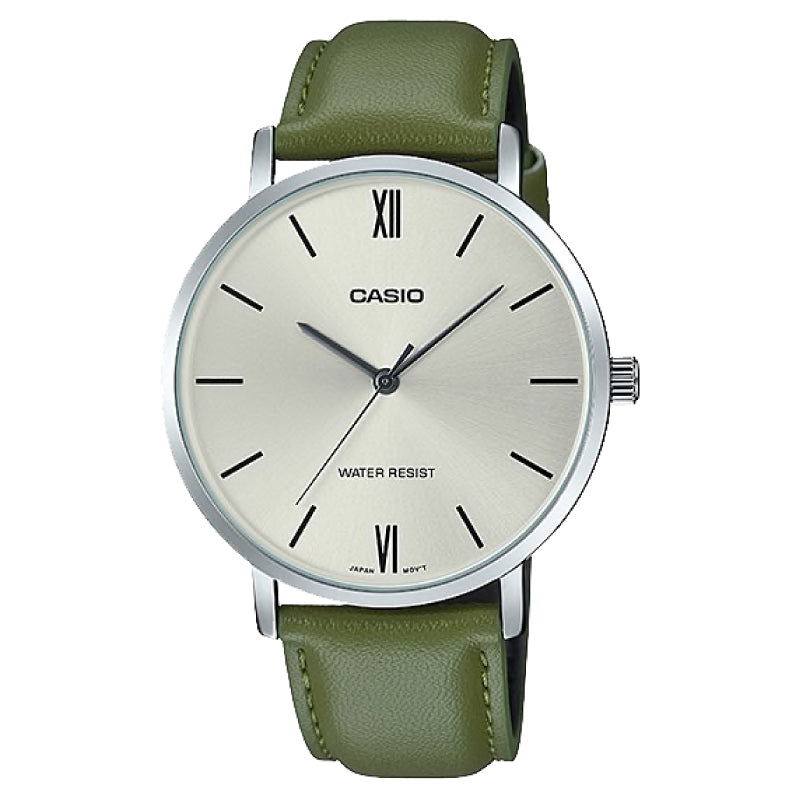 Casio Men's Analog Green Leather Strap Watch MTPVT01L-3B MTP-VT01L-3B
