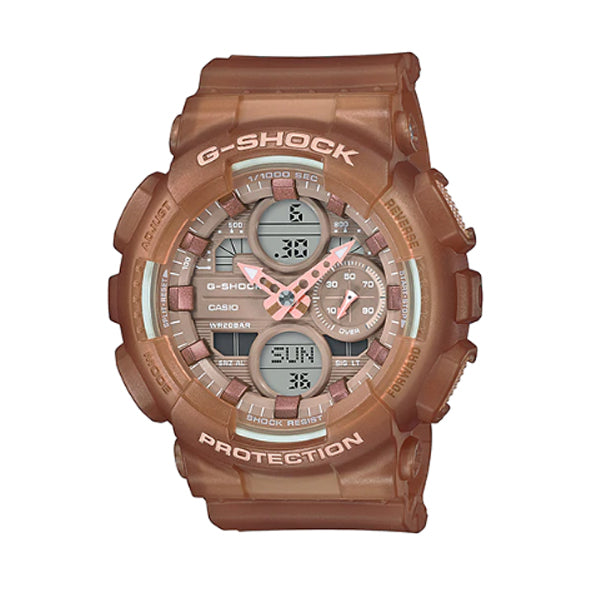 Casio G-Shock S Series for Ladies' GA-140 Lineup Semi-Transparent Brown Resin Band Watch GMAS140NC-5A2 GMA-S140NC-5A2