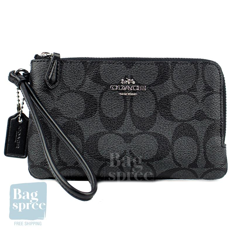 Coach Double Corner Zip Wristlet Black F87591 SVDK6