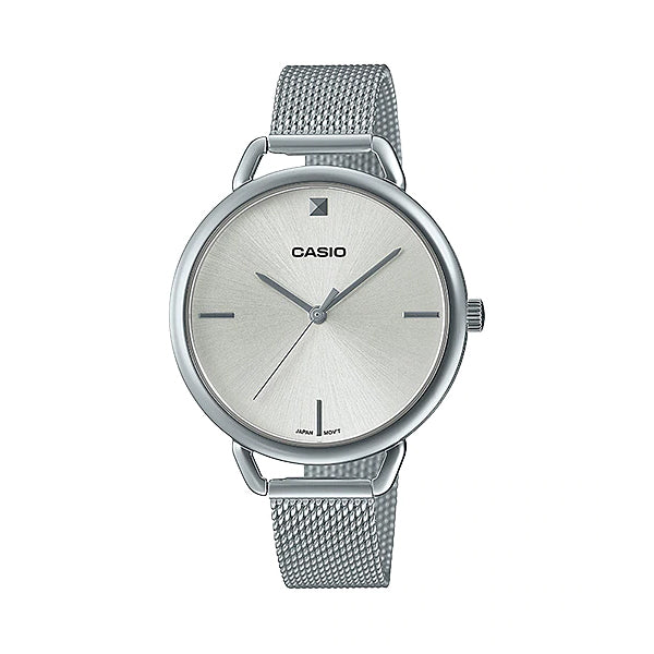 Casio Ladies' Analog Stainless Steel Mesh Band Watch LTPE415M-7C LTP-E415M-7C