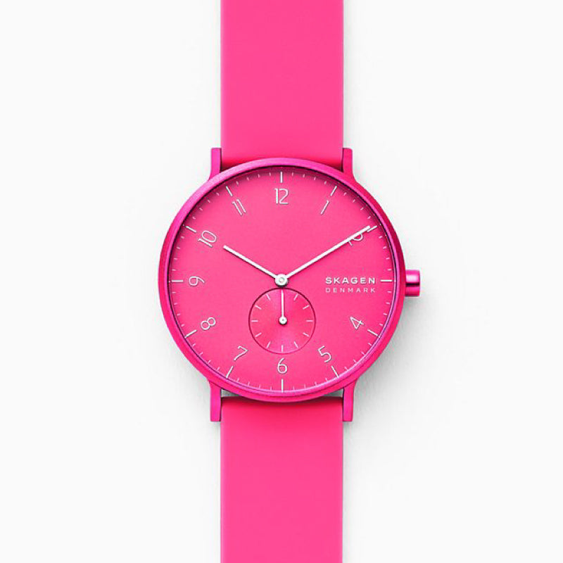 Skagen Aaren Kulor Neon Pink Silicone 41mm Watch SKW6559