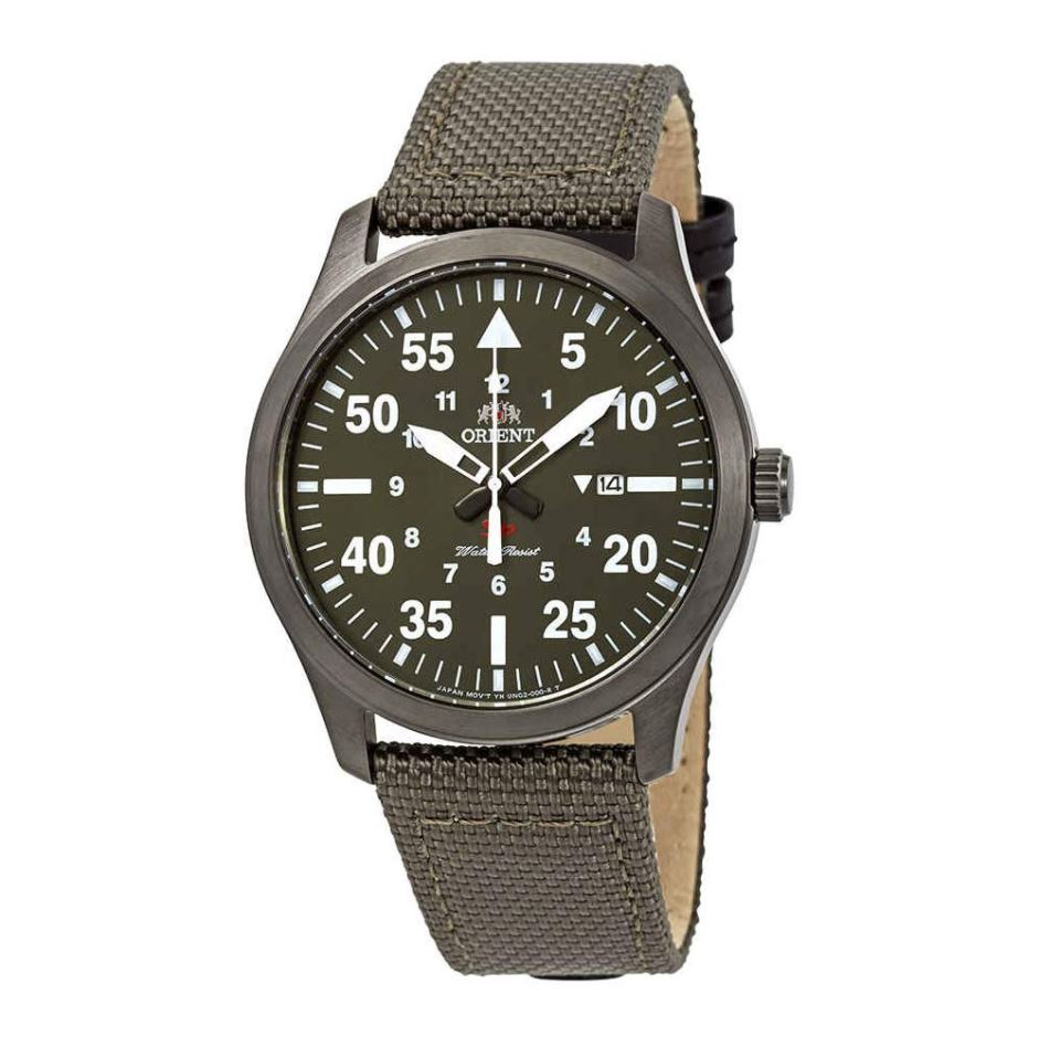 Orient Men's SP Flight Quartz Green Canvas Strap Watch FUNG2004F0  | Watchspree