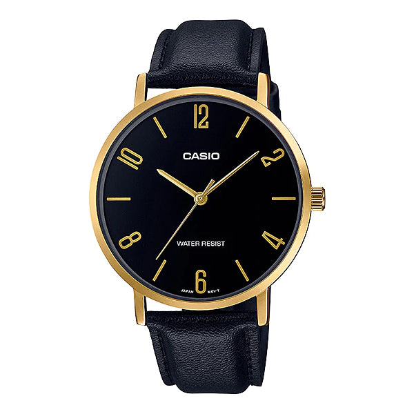 Casio Men's Analog Black Leather Strap Watch MTPVT01GL-1B2 MTP-VT01GL-1B2