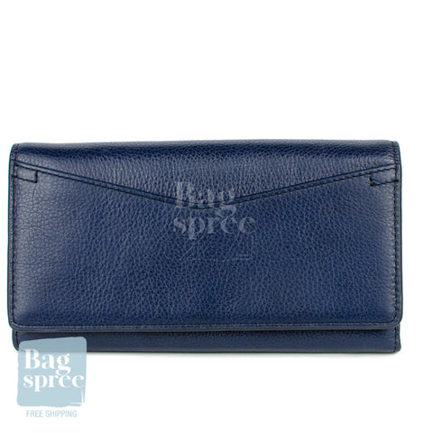 Fossil Caroline RFID Continental Flap Midnight Navy Leather Wallet Blue SL7554406