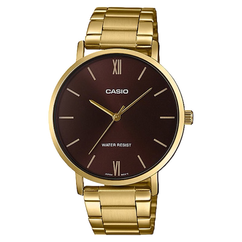 Casio Men's Analog Gold Stainless Steel Band Watch MTPVT01G-5B MTP-VT01G-5B