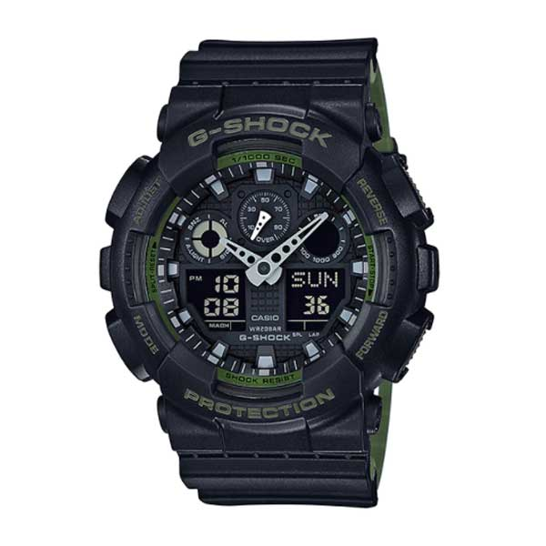 Casio G-Shock Extra Large Military Colour Series Black and Green Resin Band Watch GA100L-1A GA-100L-1A