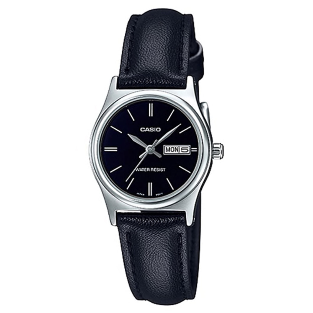 Casio Ladies' Standard Analog Black Leather Strap Watch LTPV006L-1B2 LTP-V006L-1B2